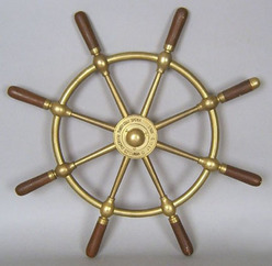 Brown Brothers ships wheel, brass with eight spokes, marked Rosebank Ironworks, Edinburgh